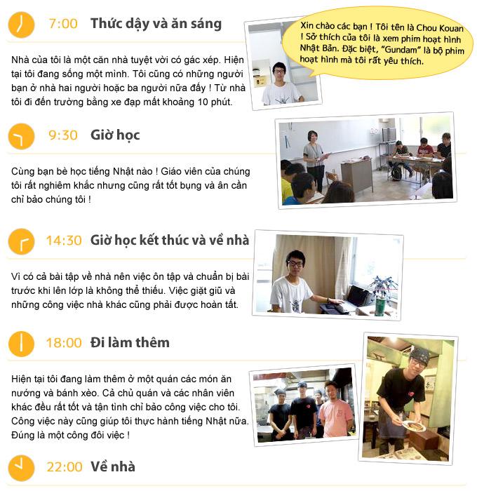 Lịch trình của một ngày (Bạn Chou Kouan - người Trung Quốc)
