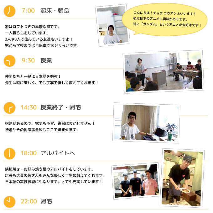 1日のスケジュール(チョウ コウアンくん/中国の場合)
